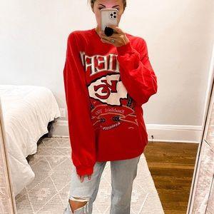 Kansas City Chiefs Vintage Crewneck Sweatshirt Red Size Medium